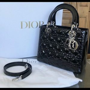 Auth Christian Dior Medium Lady Dior Patent Bag